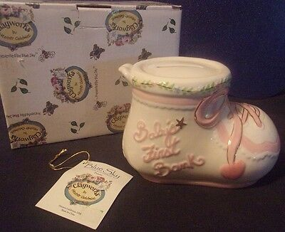 Clayworks Baby Line Blue Sky Baby's First Bank Bootie Pink Ceramic NIB