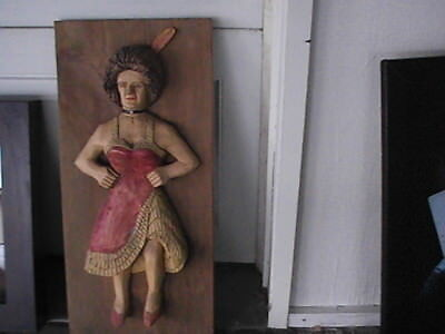 Wooden Vtg Hand Carved Wood Panel Woman  Wall Hanging Plaque 2 ft x 11 inches