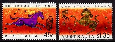 2002 Christmas Island Lunar New Year of the Horse Pair, Used