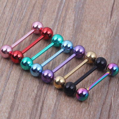 7pc 14G Surgical Steel Mixed Colour Barbell Tongue Bar Ring Stud Nipple Piercing