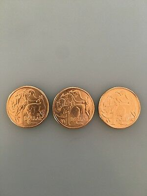 $1 One Dollar Coin -A/U/S+35 Privy Mark-Set of 3 Coins Free post