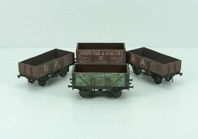 Four EM Gauge Private Owner Open Wagons