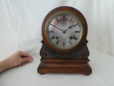 Antique Oak & Silver Plated Mantle Clock