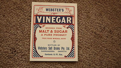 OLD AUSTRALIAN SOFT DRINK CORDIAL LABEL, 1950s WEBSTERS NARRANDERA NSW, VINEGAR