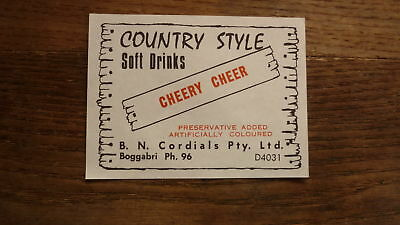 Old Australian Soft Drink Cordial Label, Boggabri Nsw, Cherry Cheer