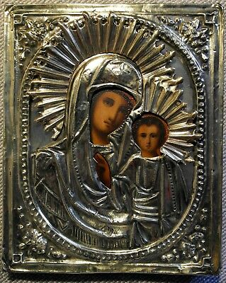 Antique Russian Orthodox Icon. Our Lady of Kazan, Mother of God 19 с.