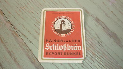 OLD 1940s GERMAN BEER LABEL, BRAUEREI ZOHRLAUT HAIGERLOCH, SCHLOKBRAU