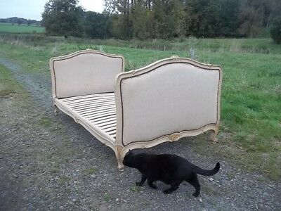 antique french beautiful aged frame louis xv revival daybed original covering