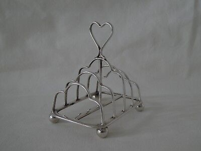 Antique Victorian Silver Heart Toast Rack Sheffield 1895