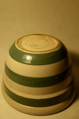 Large Bakewells Green Striped Mixing Bowl Australian Pottery
