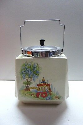 English China Chinoiserie Biscuit Barrel Jar Pagoda Oriental Garden Deco Vintage