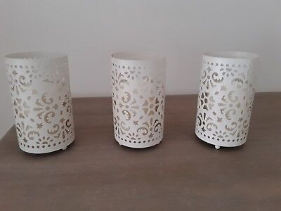 Cream Metal Lattice Candle Holders With Pillar Candles X 3