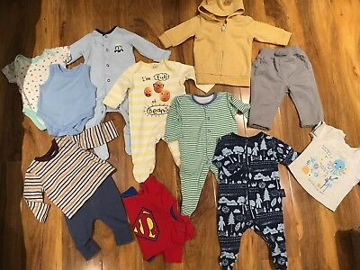 Baby Boys 0-3 Months Mixed Clothes Bundle 12 Items