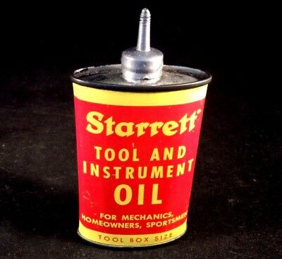 Vntg STARRETT TOOL AND INSTRUMENT OIL LEAD TOP Handy Oiler Rare Advertising Can