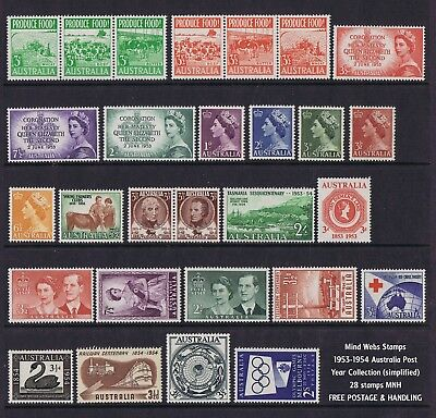 Australian Pre-Decimal Stamps 1953-1954 Year Set (28) MNH, LOVELY STAMPS!