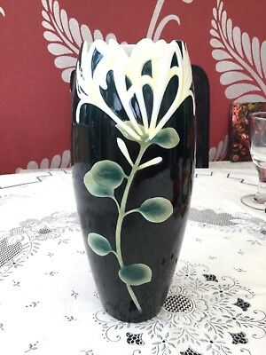 Franz Porcelain Vase FZ00088 in Black with Honeysuckle Design Very Collectable