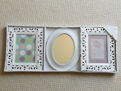 BRAND NEW - Christmas Gift Idea: White Photo Frame & Mirror Set 5x7""