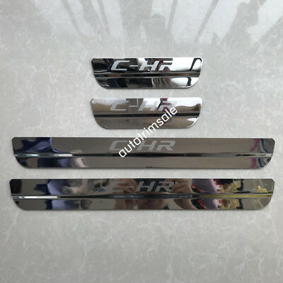 Stainless Steel Door Sill Scuff Plate Guards Protector For Toyota C-HR 2016-2018