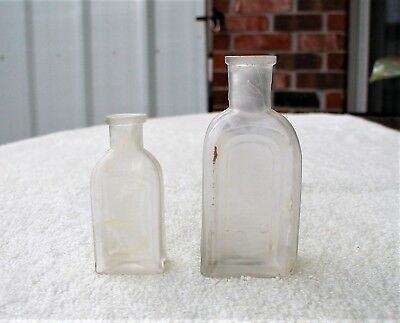 """Two """"L. BINEAUD / N.O. / No 1 & No 2"""" Clear Glass New Orleans Hair Dye Bottles"""