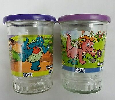Welch's Dragon Tales Grape Jelly Jars Lot of 2 Different # 2 & 5 w/Lids