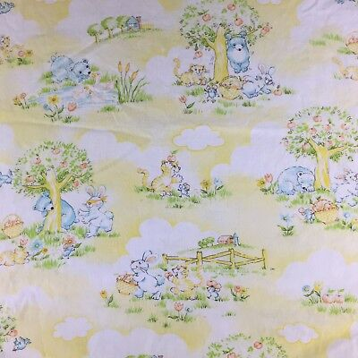 Vtg 1982 Dundee Mills Baby Bed Fitted Crib Sheet Nursery Yellow Cat Bunny Bear