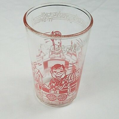 Welch's Jelly Howdy Doody 1953 Character Train Pink Glass Clarabell Bottom