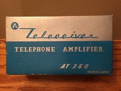 Vintage Teleceiver Telephone Amplifier model  AT360 mint in box original battery