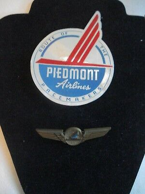 2 ~ Vintage Piedmont Airlines ~ Plastic 1970s Pilots Wings Pin  & Decal Sticker