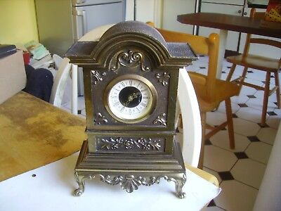 Nice vintage brass mantel clock/time piece dated approx.1981 W.Germany.