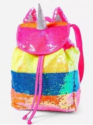 NWT Justice Rainbow Sequin Unicorn Mini Rucksack Backpack Limited Edition