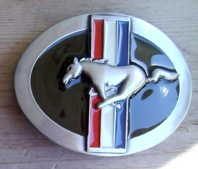 Ford Mustang Belt Buckle Silver With Black Enamel NEW # 8