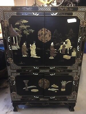 Large Black Chinese Laquered Cabinet