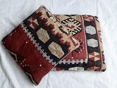 "2 x vintage Turkish Moroccan  kilim rug cushion covers 17"" x 17"""