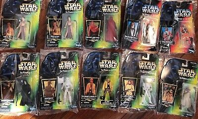 Lot of 10 Star Wars POTF Red and Green Card Figures- New Luke, Slave Leia