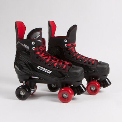 Bauer Quad Roller Skates - NS - Black & Red Mixed Sims Street Snakes