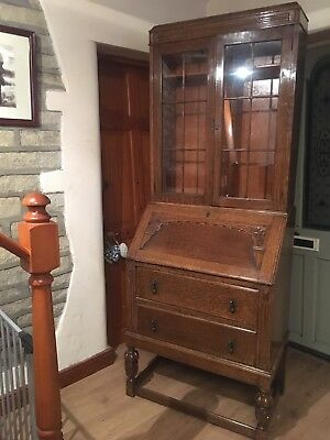 Antique Bureau Writing Desk And Display Cabinet 2 Part 2 Draws