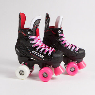 Bauer Quad Roller Skates - NSX - Pink & White Mixed Sims Street Snakes