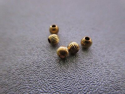 14K Gold Filled Corrugated Round Bead Spacer 3mm 5pcs