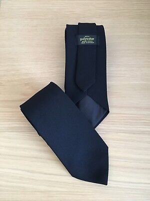 Mens Plain Black Funeral / Workwear Formal Tie - 12 Available - New