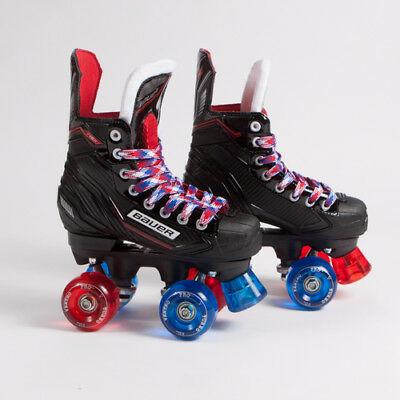 Bauer Quad Roller Skates - NSX - Red & Blue Mixed Ventro Wheels