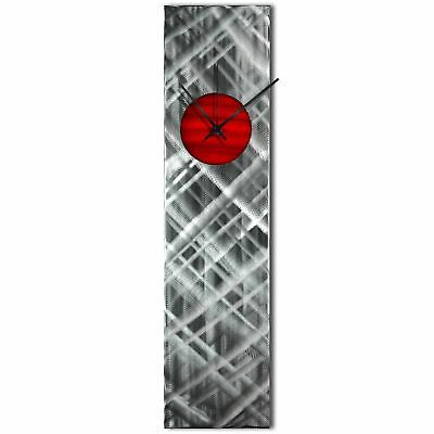 Modern Wall Clock Silver Home Decor Red Abstract Kitchen Metal Wall Clock