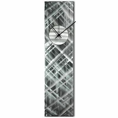 Modern Wall Clock Silver Home Decor Silver Abstract Kitchen Metal Wall Clock