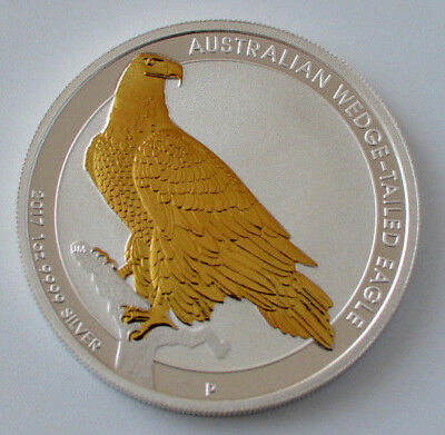 2017 Australian Wedge-Tailed Eagle 1oz .999 Silver Gold Gilded Coin