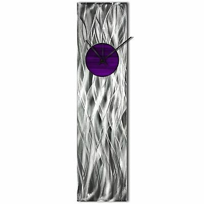 Modern Wall Clock Silver Home Decor Purple Metal Wall Art Abstract Kitchen Clock