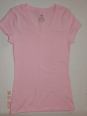 Faded Glory Girl's Size L (10 - 12) T-Shirt Pink V Neck Tee Cap Sleeve Nwt