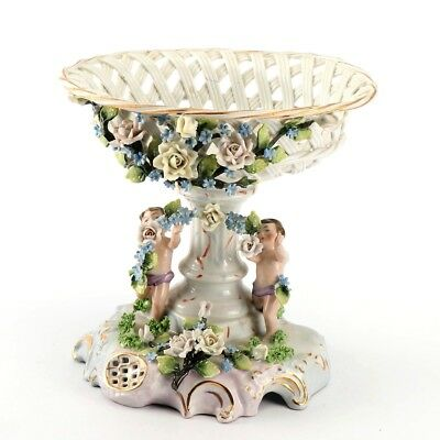 Beautiful Vintage German Reticulated Compote with Figural Cherubs
