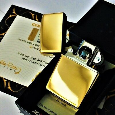 24Ct Gold Plated Zippo Petrol Windproof Cigar Refillable Metal Lighter Gift 24k