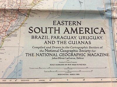 Vintage National Geographic Map Eastern South America March 1955. Good Condition