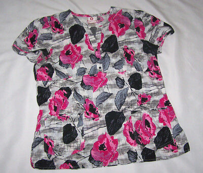 White Cross Scrub Top Sz M White Background With Colorful Pink And Black Pattern