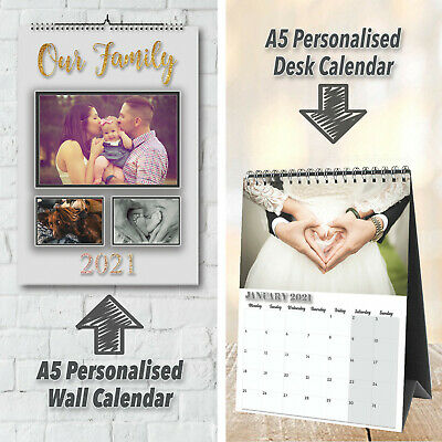 Personalised 12 Month Wall/Desk Calendar With Your Wording & Photos   2019   A5